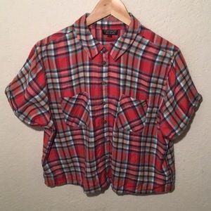 Top shop cropped plaid shirt